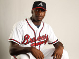 Atlanta Braves Photo Day, LAKE BUENA VISTA, FL - FEBRUARY 21: Aroys Vizcaino Photographic Print by Mike Ehrmann