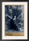 Sarah Bernhardt, French Actress, in Dramatic Pose, Kneeling with Arms Raised, 1892 Posters