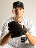 Florida Marlins Photo Day, JUPITER, FL - FEBRUARY 23: Josh Johnson Photographic Print by Mike Ehrmann