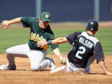 Oakland Athletics v Seattle Mariners, PEORIA, AZ - MARCH 12: Cliff Pennington and Jack Wilson Photographic Print by Christian Petersen