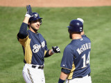 Oakland Athletics v Milwaukee Brewers, PHOENIX, AZ - MARCH 03: Ryan Braun and Casey McGehee Photographic Print by Christian Petersen