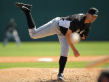 Florida Marlins v Washington Nationals, VIERA, FL - MARCH 02: Josh Johnson Photographic Print by Mike Ehrmann