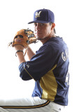 Milwaukee Brewers Photo Day, MARYVALE, AZ - FEBRUARY 24: Yovani Gallardo Photographic Print by Jonathan Ferrey