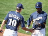 Oakland Athletics v Milwaukee Brewers, PHOENIX, AZ - MARCH 03: Rickie Weeks and Ron Roenicke Photographic Print by Christian Petersen