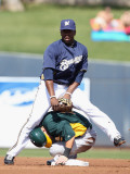 Oakland Athletics v Milwaukee Brewers, PHOENIX, AZ - MARCH 03: Rickie Weeks and Daric Barton Photographic Print by Christian Petersen