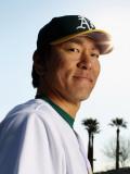 Oakland Athletics Photo Day, PHOENIX, AZ - FEBRUARY 24: Hideki Matusi Photographic Print by Ezra Shaw