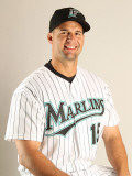Florida Marlins Photo Day, JUPITER, FL - FEBRUARY 23: Gaby Sanchez Fotografie-Druck von Mike Ehrmann