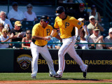 Baltimore Orioles v Pittsburgh Pirates, BRADENTON, FL - FEBRUARY 28: Lyle Overbay and Nick Leyva Photographic Print by J. Meric