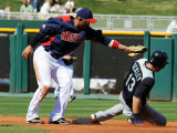 Seattle Mariners v Cleveland Indians, GOODYEAR, AZ - MARCH 11: Dustin Ackley and Orlando Cabrera Photographic Print by Norm Hall