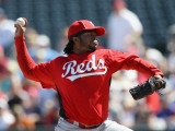 Cincinnati Reds v Texas Rangers, SURPRISE, AZ - MARCH 11: Johnny Cueto Photographic Print by Christian Petersen