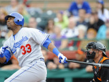 Los Angeles Dodgers v San Francisco Giants, SCOTTSDALE, AZ - FEBRUARY 26: Marcus Thames Photographic Print by Rob Tringali