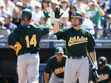 Oakland Athletics v Seattle Mariners, PEORIA, AZ - MARCH 12: Mark Ellis and Andy LaRoche Photographic Print by Christian Petersen
