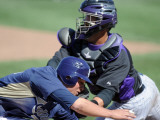 Colorado Rockies v San Diego Padres, PEORIA, AZ - MARCH 02: Will Venable and Jose Morales Photographic Print by Harry How