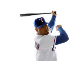 Texas Rangers Photo Day, SURPRISE, AZ - FEBRUARY 25: Yorvit Torrealba Photographic Print by Jonathan Ferrey