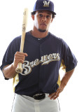 Milwaukee Brewers Photo Day, MARYVALE, AZ - FEBRUARY 24: Carlos Gomez Photographie par Jonathan Ferrey