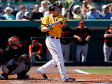 Baltimore Orioles v Pittsburgh Pirates, BRADENTON, FL - FEBRUARY 28: Lyle Overbay Photographic Print by J. Meric