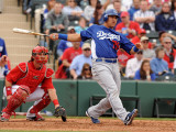 Los Angeles Dodgers v Los Angeles Angels of Anaheim, TEMPE, AZ - FEBRUARY 26: Hector Gimenez Photographic Print by Norm Hall