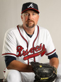 Atlanta Braves Photo Day, LAKE BUENA VISTA, FL - FEBRUARY 21: Scott Linebrink Photographic Print by Mike Ehrmann