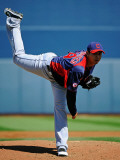 Cleveland Indians v San Diego Padres, PEORIA, AZ - MARCH 13: Carlos Carrasco Photographic Print by Kevork Djansezian