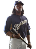 Milwaukee Brewers Photo Day, MARYVALE, AZ - FEBRUARY 24: Rickie Weeks Photographie par Jonathan Ferrey