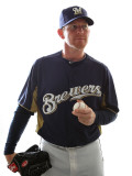 Milwaukee Brewers Photo Day, MARYVALE, AZ - FEBRUARY 24: Randy Wolf Photographic Print by Jonathan Ferrey