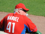 Florida Seminoles v Philadelphia Phillies, CLEARWATER, FL - FEBRUARY 24: Charlie Manuel Photographic Print by Al Messerschmidt
