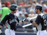 Texas Rangers v Seattle Mariners, PEORIA, AZ - MARCH 01: Adam Kennedy and Dustin Ackley Photographic Print by Harry How