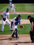 Texas Rangers v Los Angeles Dodgers, GLENDALE, AZ - MARCH 15: Clayton Kershaw and Rod Barajas Photographic Print by Kevork Djansezian