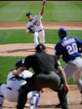 Texas Rangers v Los Angeles Dodgers, GLENDALE, AZ - MARCH 15: Clayton Kershaw Photographic Print by Kevork Djansezian