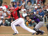 Colorado Rockies v Arizona Diamondbacks, SCOTTSDALE, AZ - FEBRUARY 26: Henry Blanco Photographic Print by Jonathan Ferrey