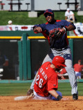 Cleveland Indians v Cincinnati Reds, GOODYEAR, AZ - FEBRUARY 28: Luis Valbuena and Jeremy Hermida Photographic Print by Norm Hall