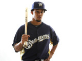 Milwaukee Brewers Photo Day, MARYVALE, AZ - FEBRUARY 24: Carlos Gomez Photographic Print by Jonathan Ferrey