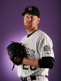 Colorado Rockies Photo Day, SCOTTSDALE, AZ - FEBRUARY 24: Aaron Cook Photographic Print by Harry How