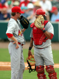 St. Louis Cardinals v Florida Marlins, JUPITER, FL - MARCH 06: Kevin Thomas and Gerald Laird Photographic Print by Marc Serota