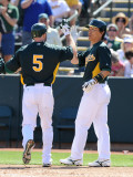 Texas Rangers v Oakland Athletics, PHOENIX, AZ - MARCH 04: Hideki Matsui and Kevin Kouzmanoff Photographic Print by Norm Hall