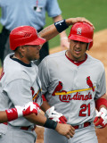 St. Louis Cardinals v Florida Marlins, JUPITER, FL - MARCH 01: Yadier Molina and Allen Craig Photographic Print by Marc Serota