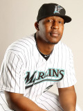 Florida Marlins Photo Day, JUPITER, FL - FEBRUARY 23: Joe Thurston Photographic Print by Mike Ehrmann