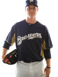 Milwaukee Brewers Photo Day, MARYVALE, AZ - FEBRUARY 24: Chris Narveson Photographic Print by Jonathan Ferrey