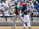 Oakland Athletics v Milwaukee Brewers, PHOENIX, AZ - MARCH 03: Josh Willingham and Mark Kotsay Photographic Print by Christian Petersen