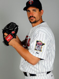 Minnesota Twins Photo Day, FORT MYERS, FL - FEBRUARY 25:  Pitcher Carl Pavano Photographic Print by J. Meric