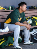 Oakland Athletics v Seattle Mariners, PEORIA, AZ - MARCH 12: Guillermo Moscoso Photographic Print by Christian Petersen