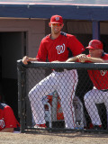 Florida Marlins v Washington Nationals, VIERA, FL - MARCH 02: Stephen Strasburg Photographic Print by Mike Ehrmann