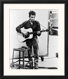 Bob Dylan Playing Guitar and Harmonica into Microphone. 1965 Prints