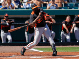 Baltimore Orioles v Pittsburgh Pirates, BRADENTON, FL - FEBRUARY 28: Vladimir Guerrero Photographic Print by J. Meric