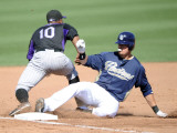 Colorado Rockies v San Diego Padres, PEORIA, AZ - MARCH 02: Jorge Cantu and Chirs Nelson Photographic Print by Harry How