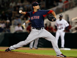Boston Red Sox v Minnesota Twins, FORT MYERS, FL - FEBRUARY 27: Josh Beckett Photographic Print by J. Meric