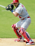St. Louis Cardinals v Florida Marlins, JUPITER, FL - MARCH 01: Yadier Molina Photographic Print by Marc Serota