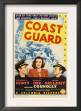 Coast Guard, Randolph Scott, Frances Dee, Ralph Bellamy on Midget Window Card, 1939 Print