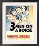 Three Men on a Horse, Joan Blondell, Frank Mchugh, Carol Hughes on Window Card, 1936 Art