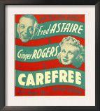 Carefree, Fred Astaire, Ginger Rogers on Window Card, 1938 Art